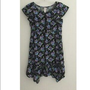 Justice Black Floral Print Dress 10 New NWT